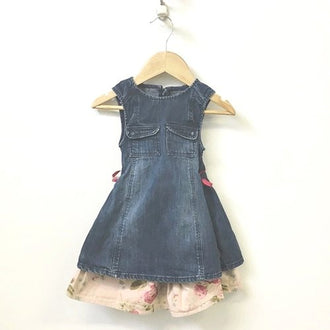 Burberry Sleeveless Denim Dress With Layered Floral Skirt 18M