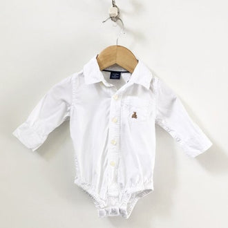 Gap Long Sleeve Button Down Dress Shirt Bodysuit 3M - 6M