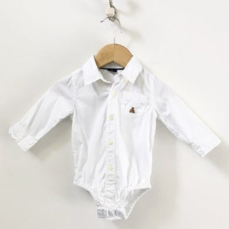 Gap Long Sleeve Button Down Dress Shirt Bodysuit 6M - 12M