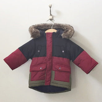 Mamas & Papas Puffer Jacket with Faux Fur Hood Trim 0-3M