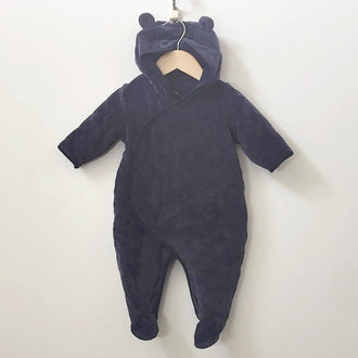 Gap Quilted Hooded Bear One-Piece 3M - 6M