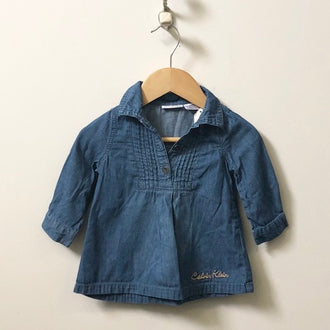 Calvin Klein Chambray Pintuck Dress 6M - 9M