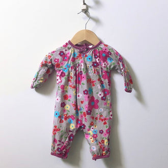 Angel Dear Long Sleeve Floral Print Tie Collar Onesie 0 - 3M