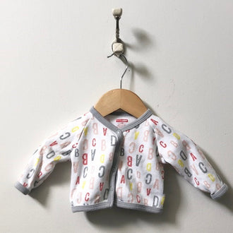 Skip + Hop ABC Print Button Up Cardigan 3M