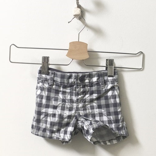 Gap Check Plaid Floral Shorts 3M - 6M