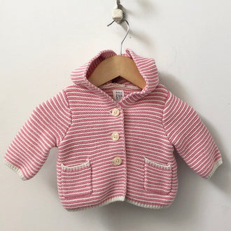Gap Striped Knit Hooded Bear Cardigan 0 - 3M
