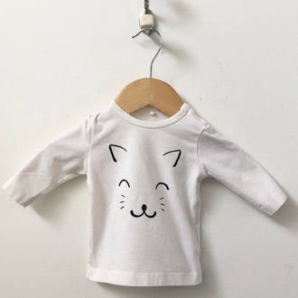 Name-It Cat Face Long Sleeve Tee 1M - 2M