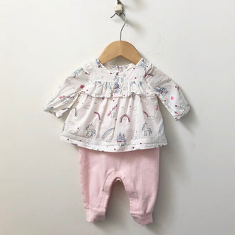 Gap Rainbow and Unicorn Blousy One-Piece Outfit 0 - 3M