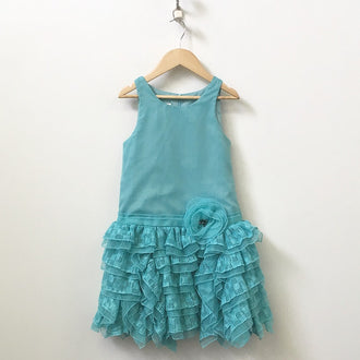 Isabella & Chloe Sleeveless Tiered Crepe Dress with Embroidery and Tulle 7Y