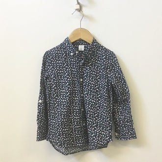 Gap Floral Print Button Down Linen Blend Shirt 5Y