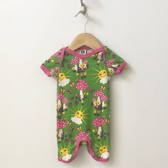Smafolk Mushroom and Sunshine Short Sleeve Onesie 6M - 12M