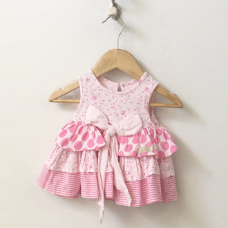 Naartjie Sleeveless Floral, Polka Dot and Striped Dress with Bow 0 - 3M