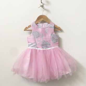 Pippa & Julie Sleeveless Rose Print Dress with Tulle Skirt 2T