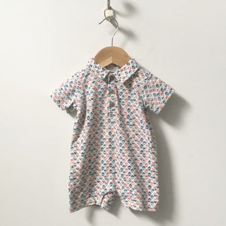 Tea Short Sleeve Triangle Romper 6M - 12M