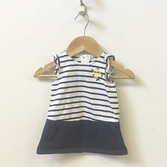 Gap Factory Striped Drop Waist Dress with Floral Applique & Bloomers 3M - 6M