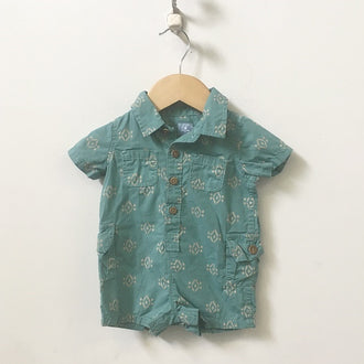 Gap Factory Short Sleeve Printed Collared Romper 0 - 3M