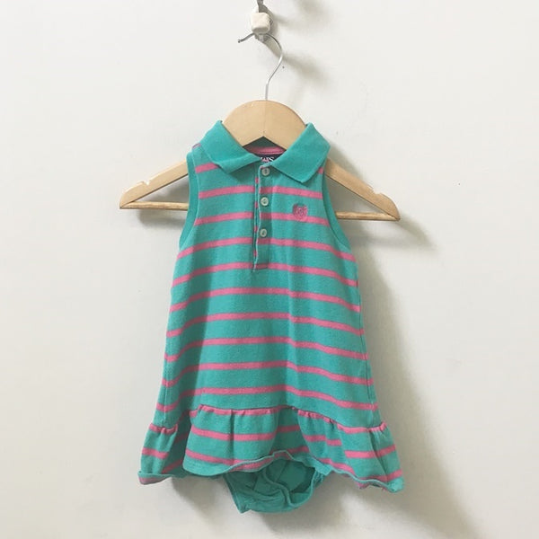Chaps Ralph Lauren Striped Sleeveless Pique Polo Dress with Bloomers 12M