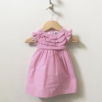 Chaps Ralph Lauren Sleeveless Ruffle Front Seersucker Dress with Bloomers 6M