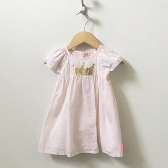 Billie Blush Cap Sleeve Cotton Dress with Crown & Bloomers 12M