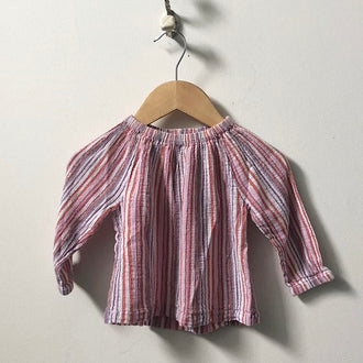 Peek Long Sleeve Striped Gauze Top 6M - 12M