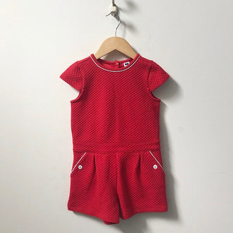 Janie and Jack Short Sleeve Quilted Romper 4T