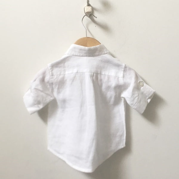 *NEW* Janie and Jack Short Sleeve Linen Button Down Shirt 3M - 6M