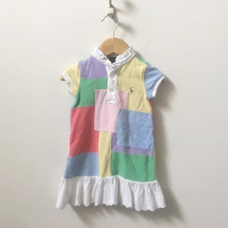Ralph Lauren Colour Block Pique Polo Dress with Eyelet Ruffle 3T