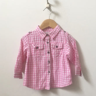 Joe's Jeans Gingham Button Down Shirt 18M