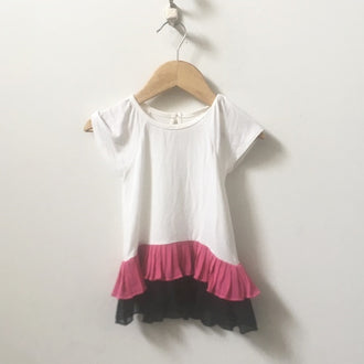 Nicole Miller Short Sleeve Shirt with Pleated Ruffles 18M