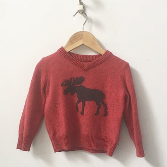 Hatley V-Neck Sweater with Elbow Patches and Moose 2T