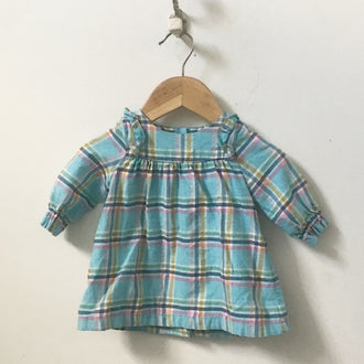 Baby Boden Long Sleeve Plaid Flannel Dress with Ruffle Sleeves 0 - 3M