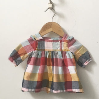 Gap Flannel Large Check Plaid 3-Button Dress 0 - 3M