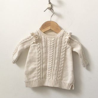 Gap Ruffle Sleeve Cable Knit Dress 0 - 3M