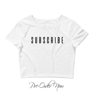 Subscribe Crop Top (White)