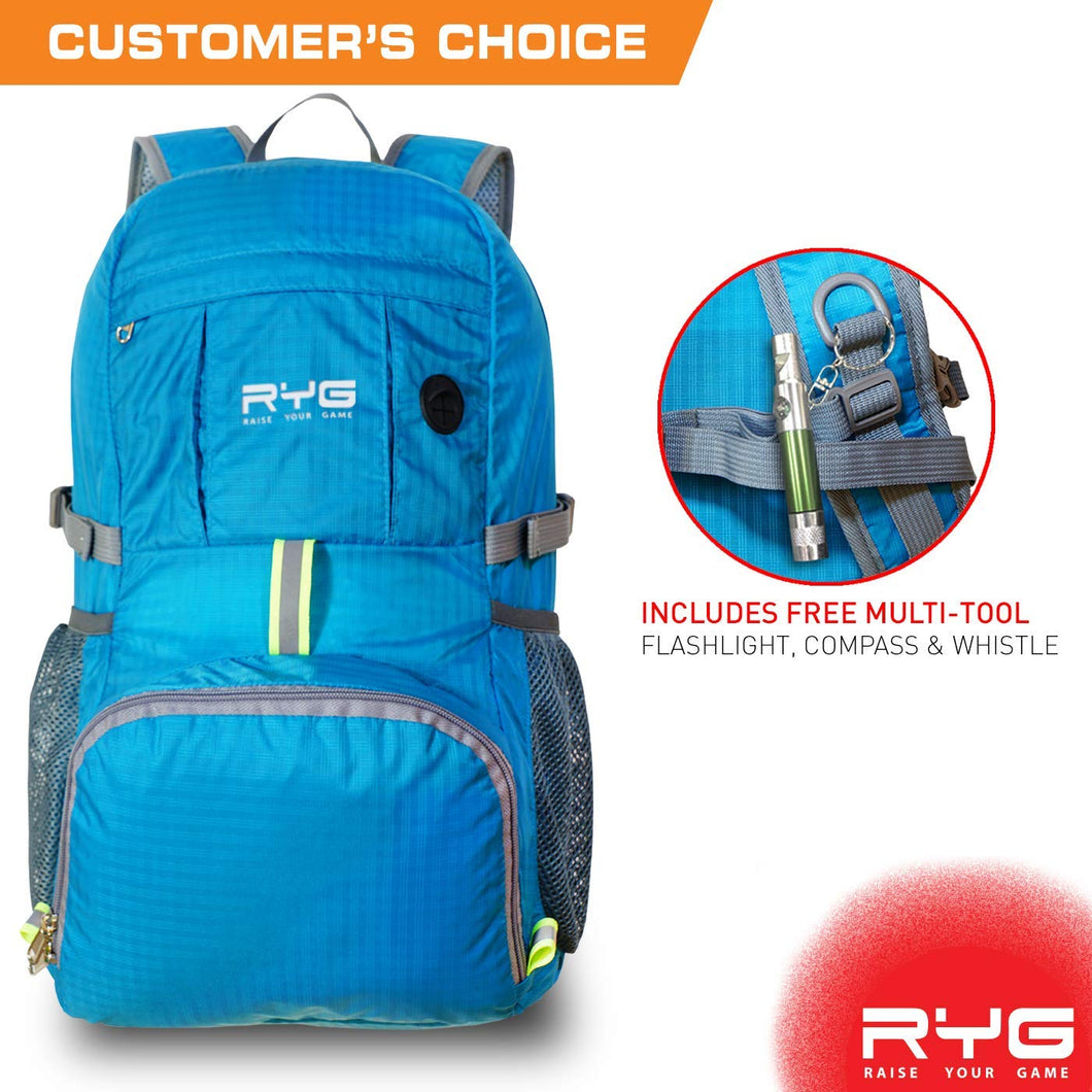 Packable Lightweight Travel Backpack (Glacier Blue)