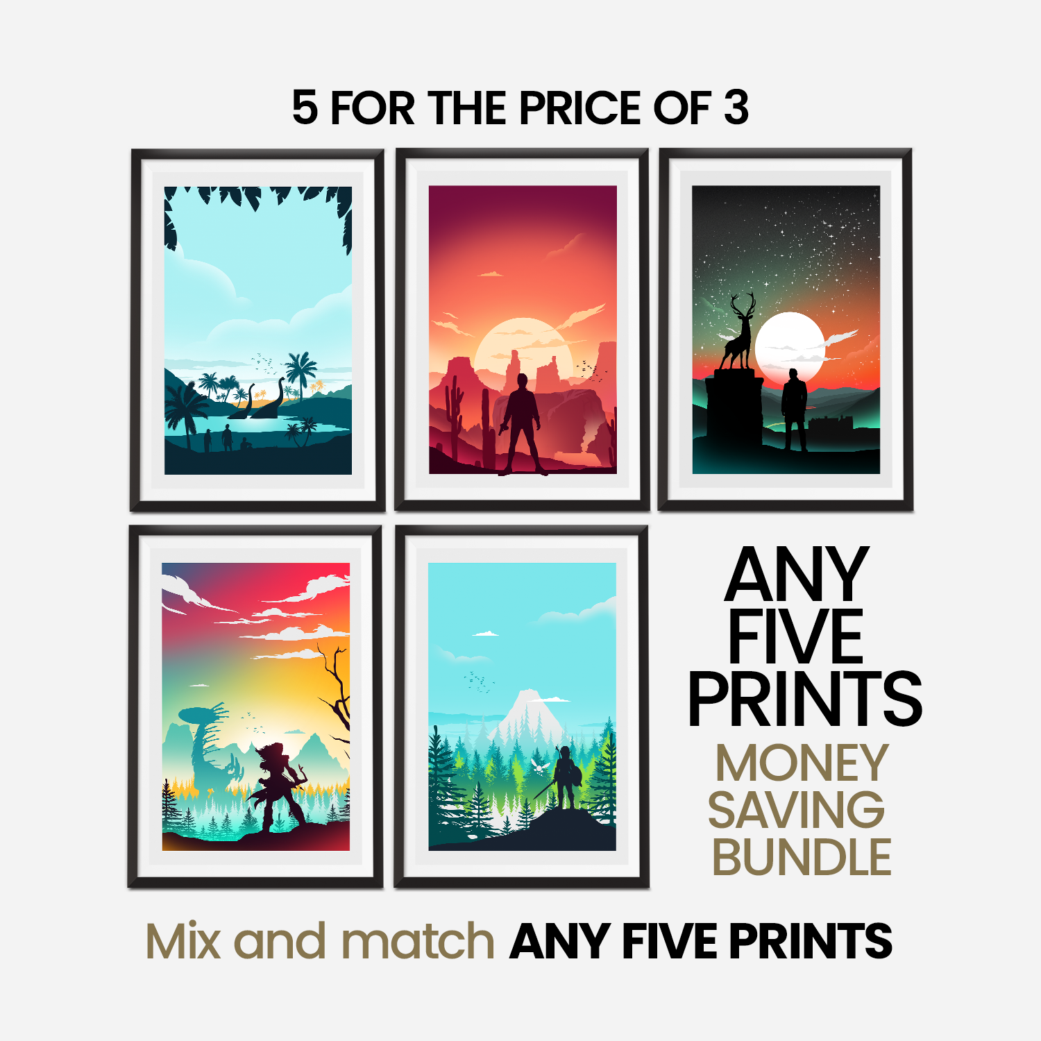 Money Saving Offer - Any 5 x Prints of your Choice Collection