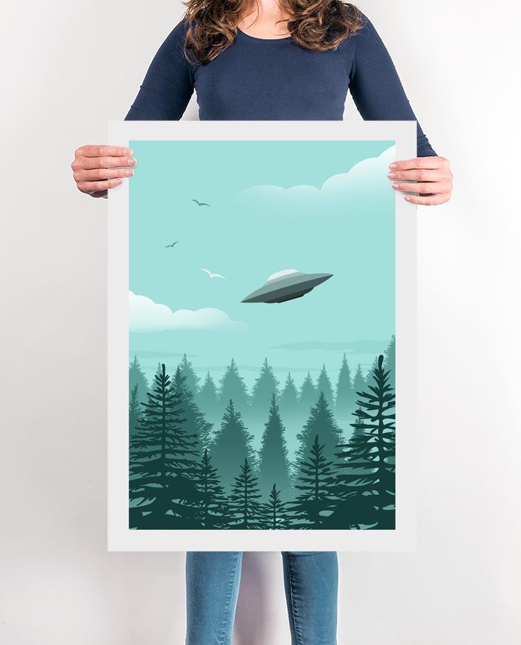 X Files Poster UFO Print, I want to believe Print