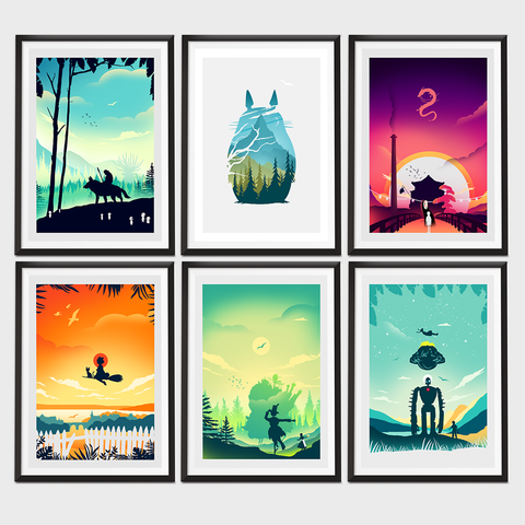 Ghibli Inspired set of six alternative movie poster Collection
