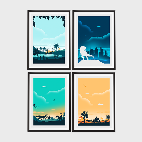Set of Four Jurassic Movie Poster Set - Money Saving Collection