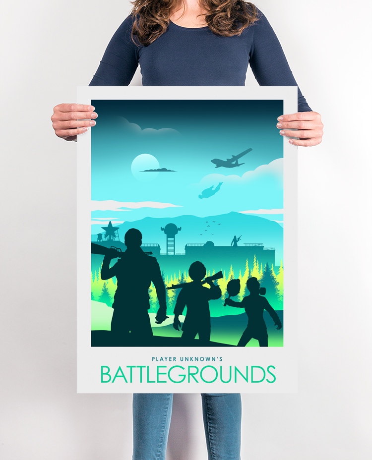PUBG Gaming Poster Print, Player Unknowns Battlegrounds Video Game Poster,