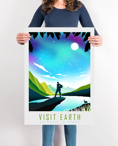 VISIT EARTH Space Travel Poster,