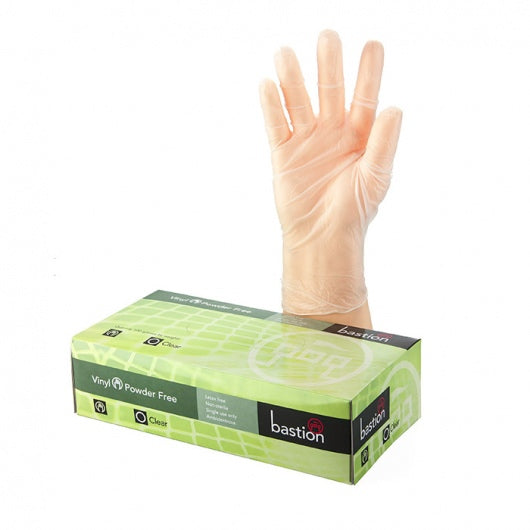 Bastion Clear Vinyl Powder Free Gloves 100s