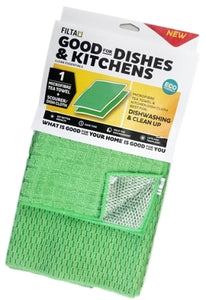 Microfibre Kitchen Tea Towel & Silver Scourer Dish Cloth
