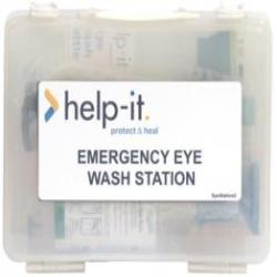 First Aid Eye Wash Kit In Clear Wall Mountable Plastic Box