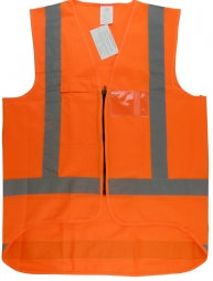 Safety Vest - Hi-Vis Orange With Reflective Stripe