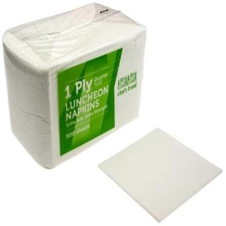Emperor 'Chefs Friend' White Serviettes 1/4 Fold - 1 Ply - 500s