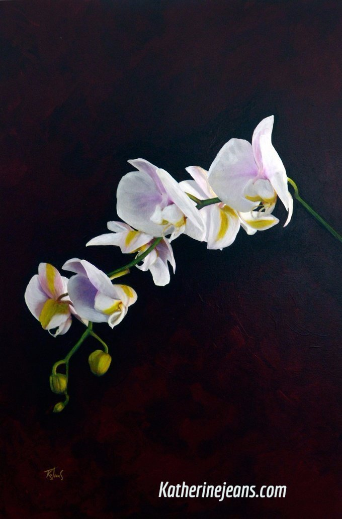 I Have Been Thinking Of You Again by Artist Katherine Jeans orchid pink white on dark background orginal art