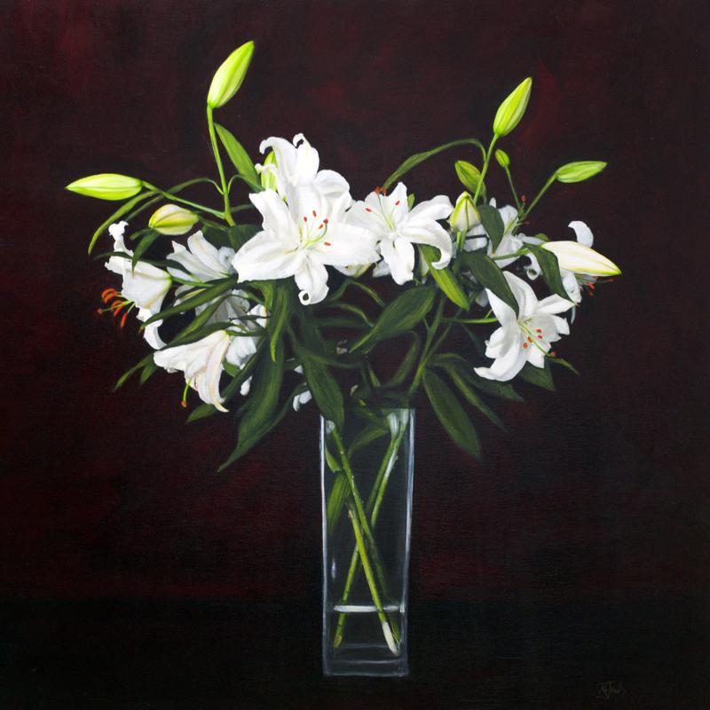 Royal Lilies in a vase original art by Katherine Jeans