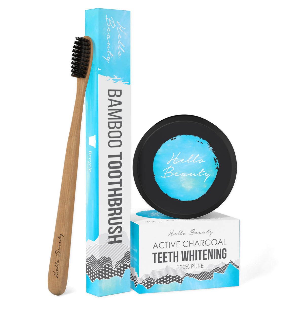 100% Natural Activated Charcoal Teeth Whitening with Bamboo Toothbrush