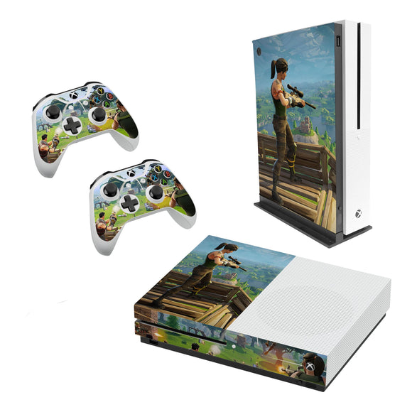 Fortnite -Decal Style Skin Set fits XBOX One S Console and 2 Controllers 001